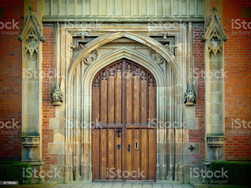 gate of Queen's University,Belfast Northern Ireland stock photo