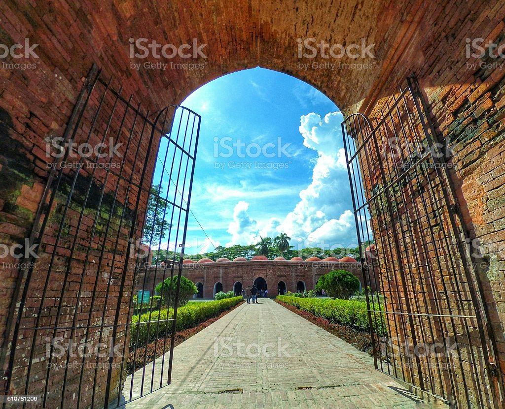 Gate of Sixty dome Mosque stock photo