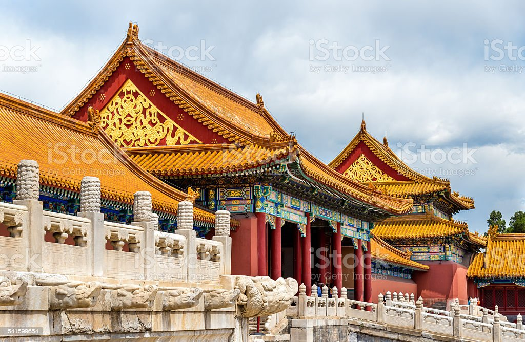 Gate of Supreme Harmony in the Forbidden City - Beijing stock photo