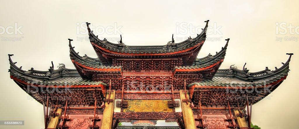 Gate of the Bao'en Temple in Suzhou stock photo