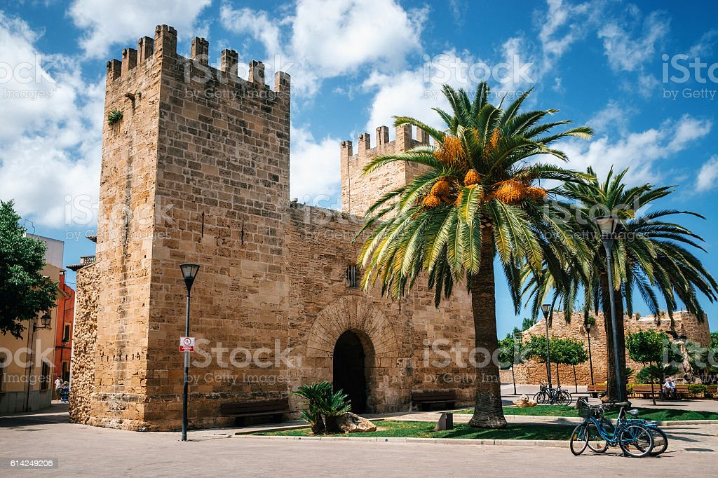 Gate of the Fortress wall of Alcudia, Mallorca stock photo