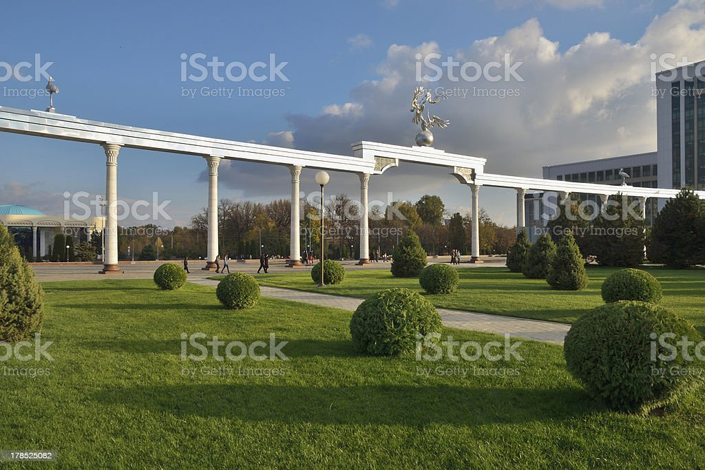 Gate of the Independence Square in Tashkent stock photo