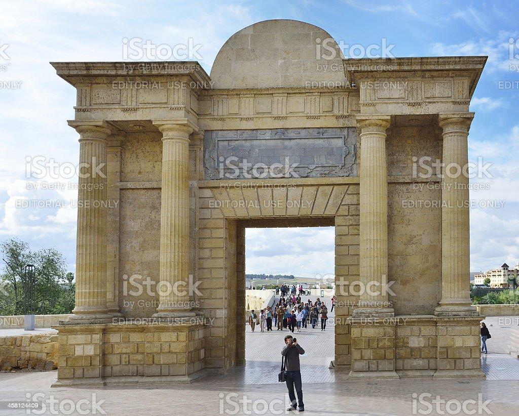 Gate of the Roman bridge in Córdoba royalty-free stock photo