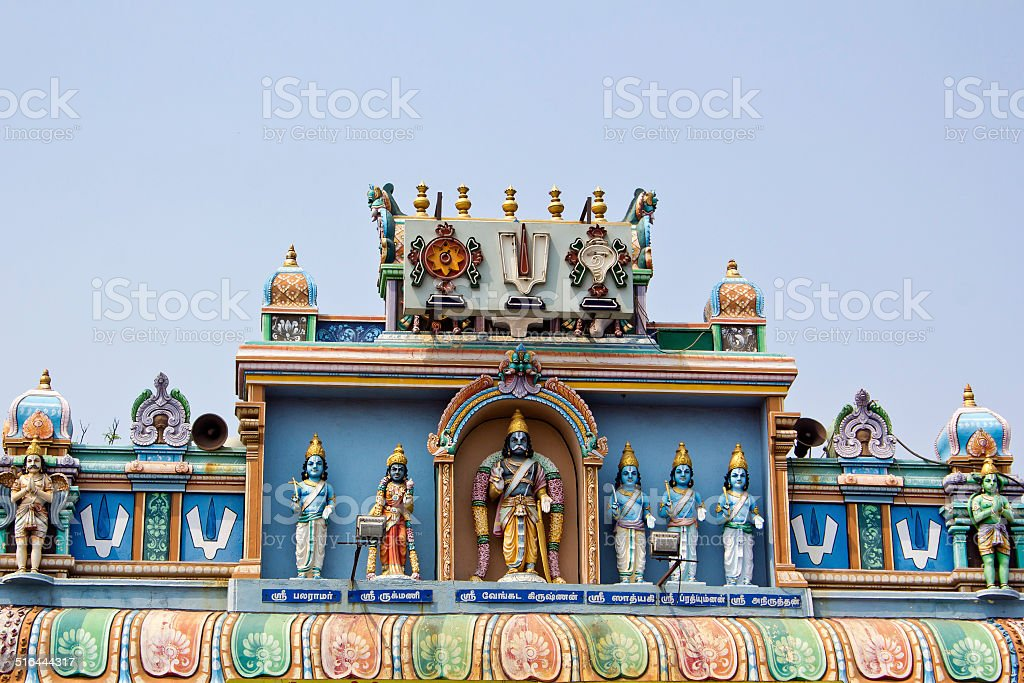 Gate of the temple of Vishnu in Chennai stock photo