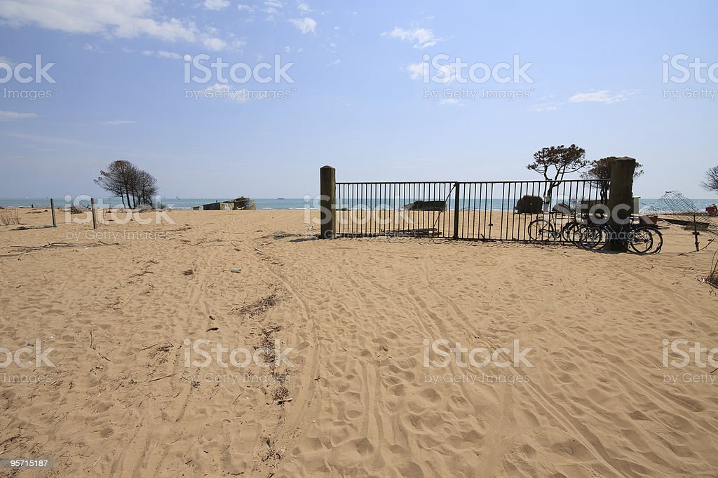 gate on the beach royalty-free stock photo