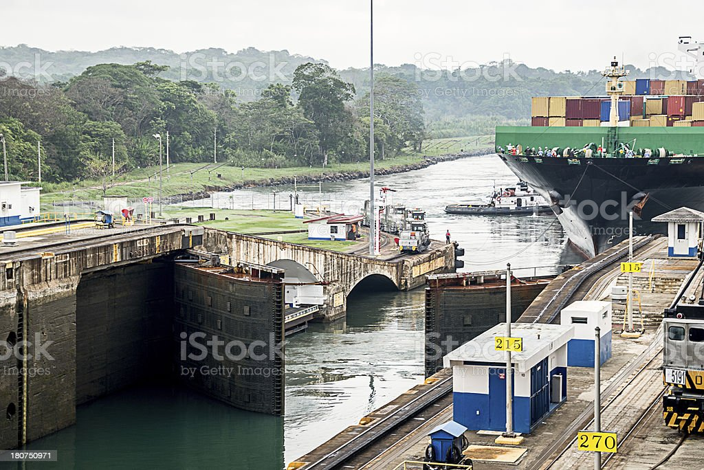 Gate Opening at Panama Canal royalty-free stock photo