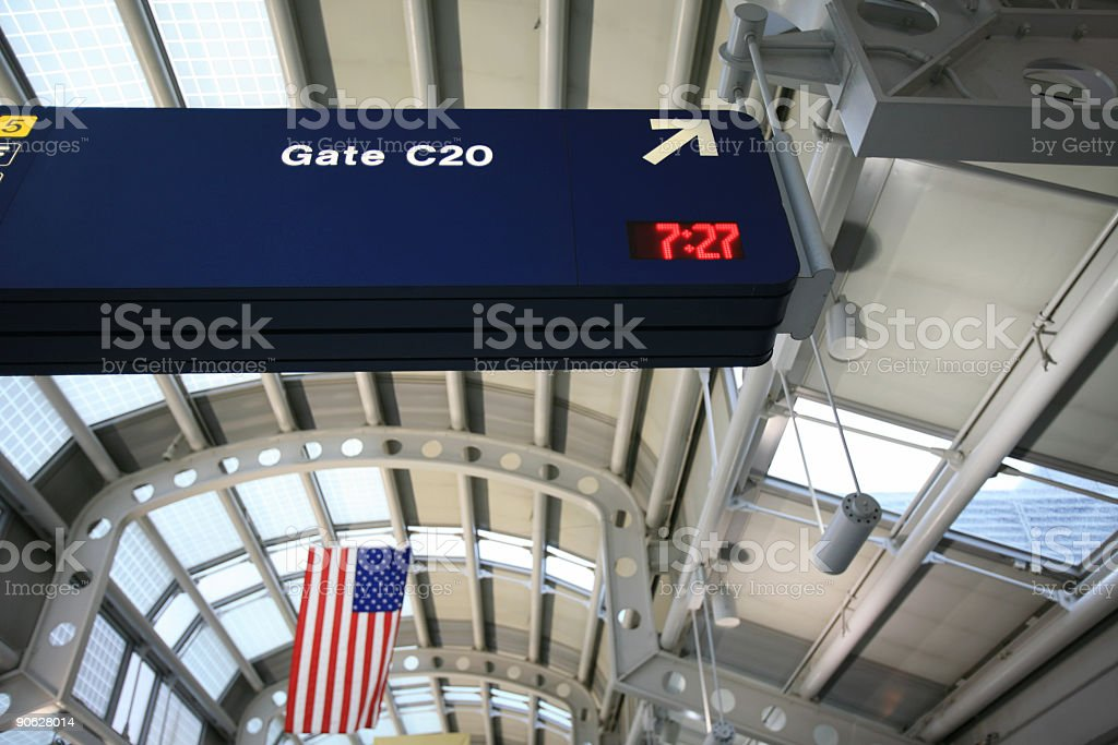 Gate sign at Chicago O'Hare International Airport royalty-free stock photo