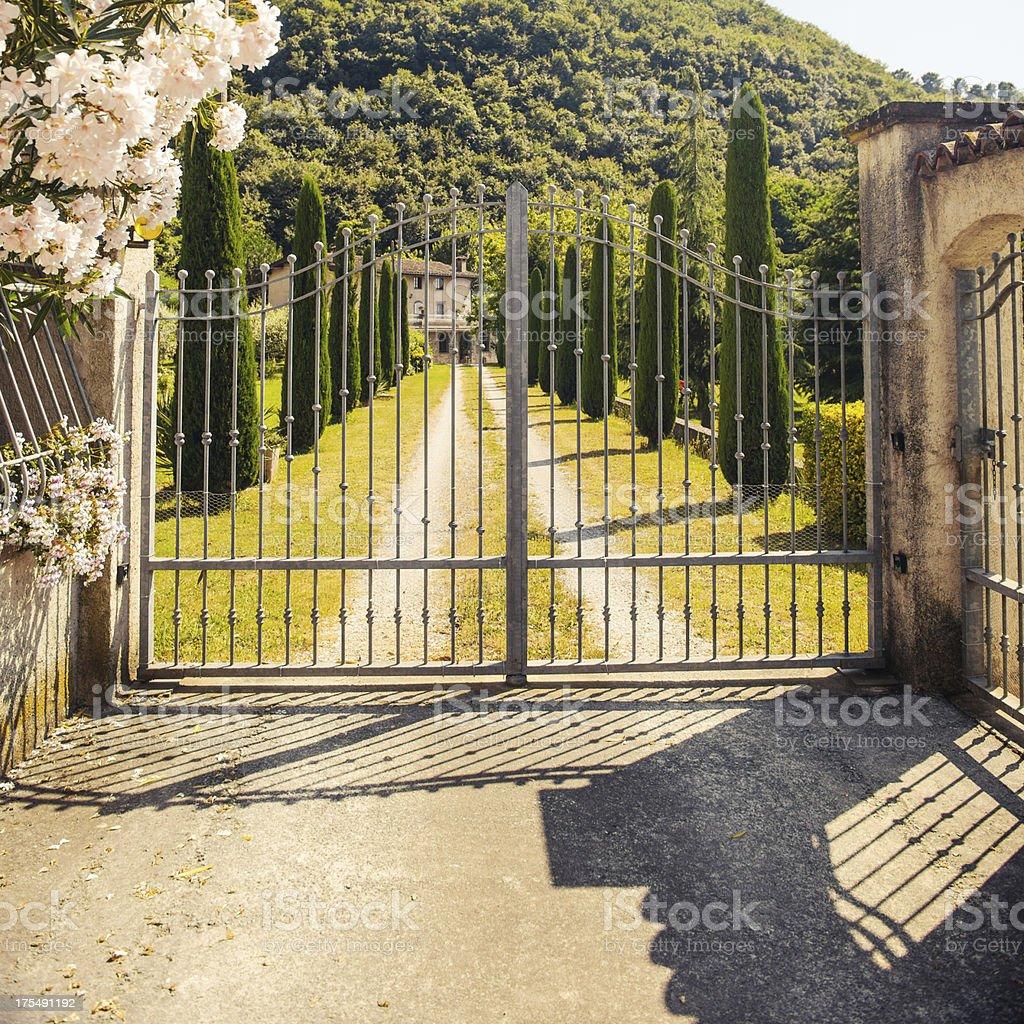 Gate to a tuscan estate stock photo