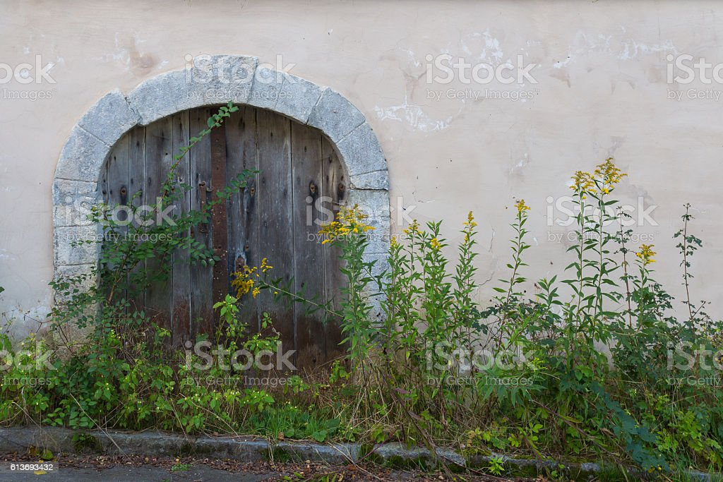 Gate to an old wine cellar stock photo