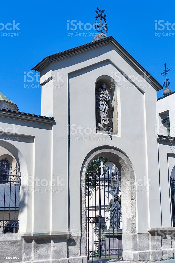 Gate to Armenian Cathedral of Lviv stock photo