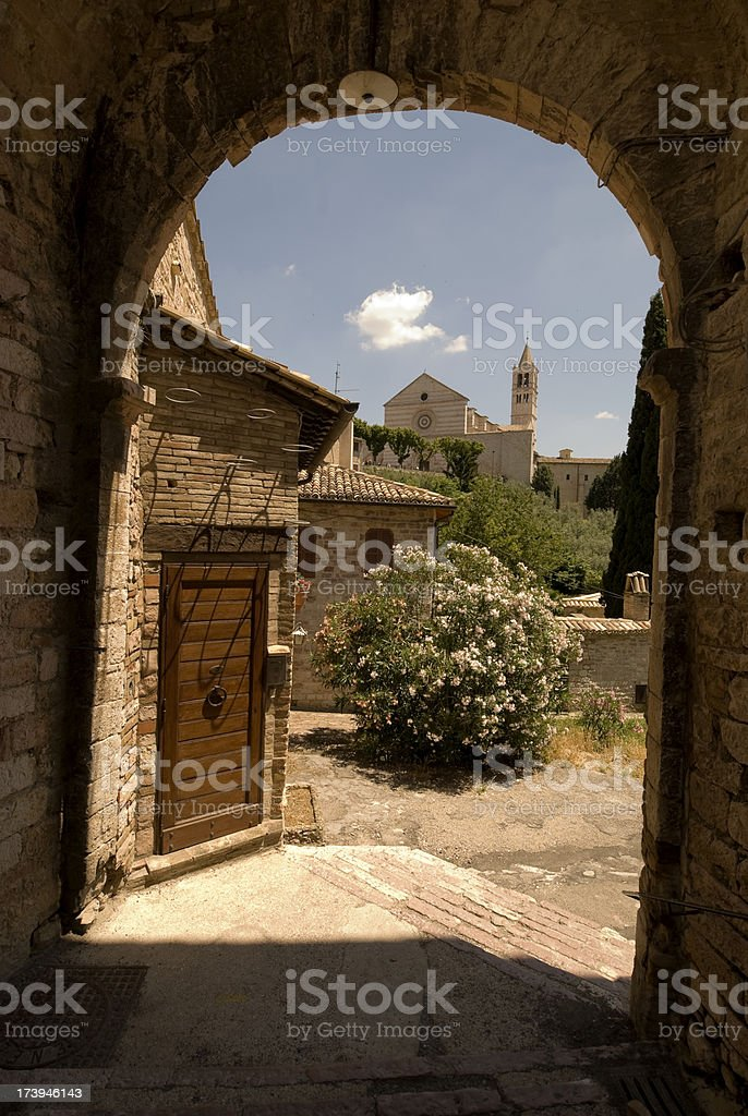 Gate to Assisi stock photo