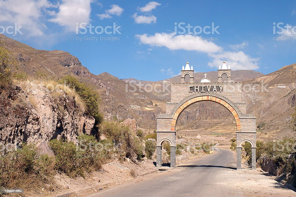 Gate To Chivay, Peru stock photo