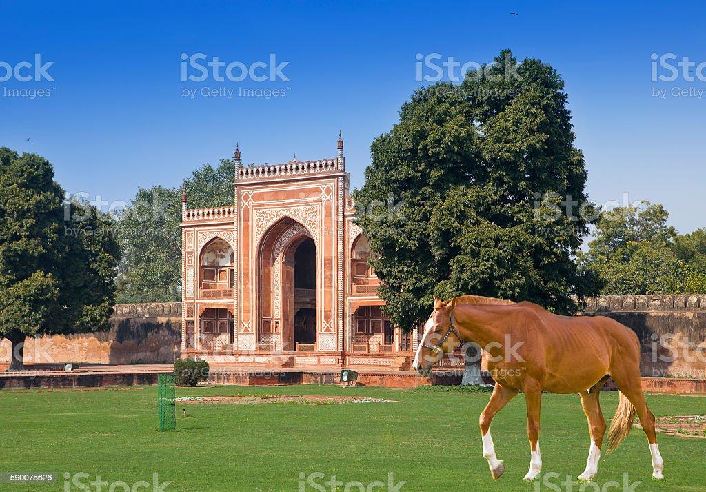 Gate to Itmad-Ud-Daulah's Tomb  at Agra, Uttar Pradesh, India stock photo