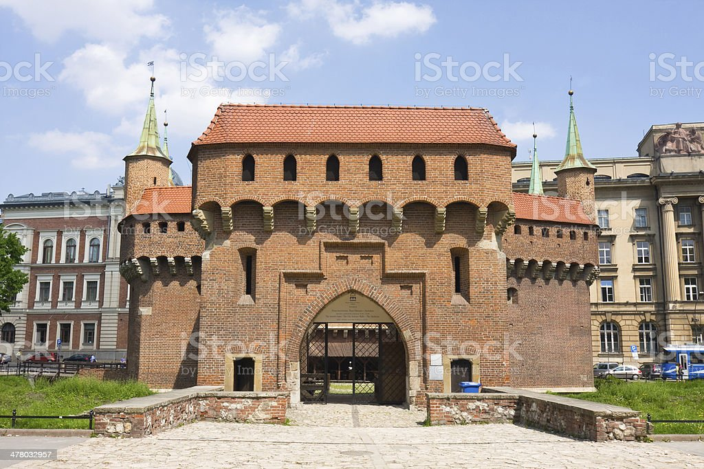 gate to Krakow - the best preserved barbican in Poland stock photo