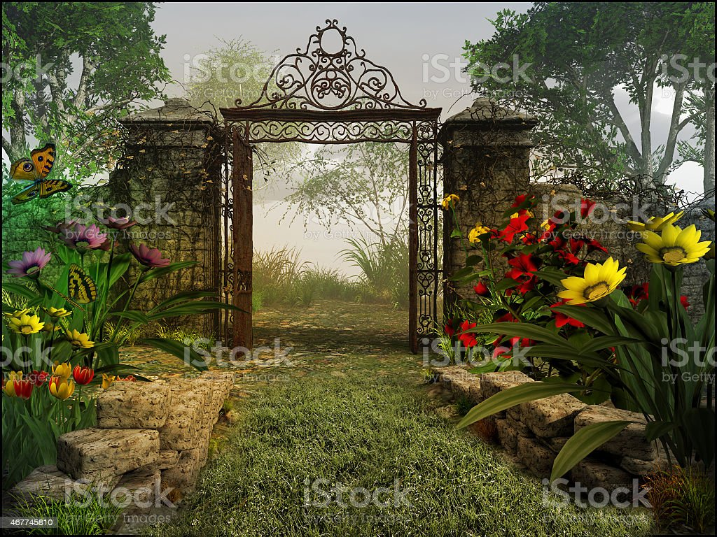 Gate to magic garden stock photo