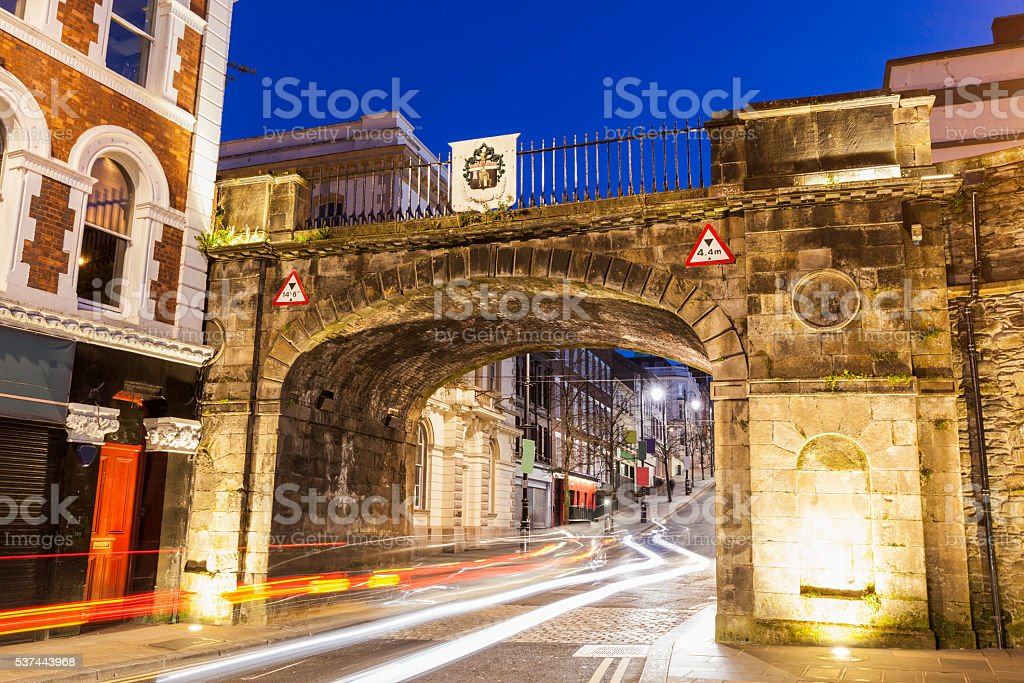 Gate to old town in Derry stock photo