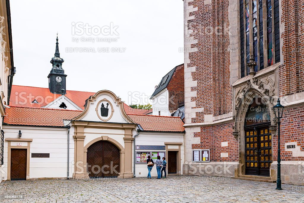 gate to The Augustinian Abbey of St Thomas, Brno stock photo