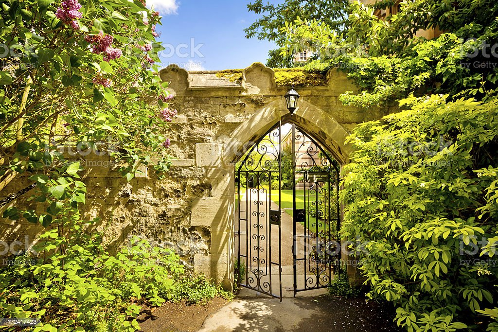 Gate to the Garden - Oxford, England stock photo