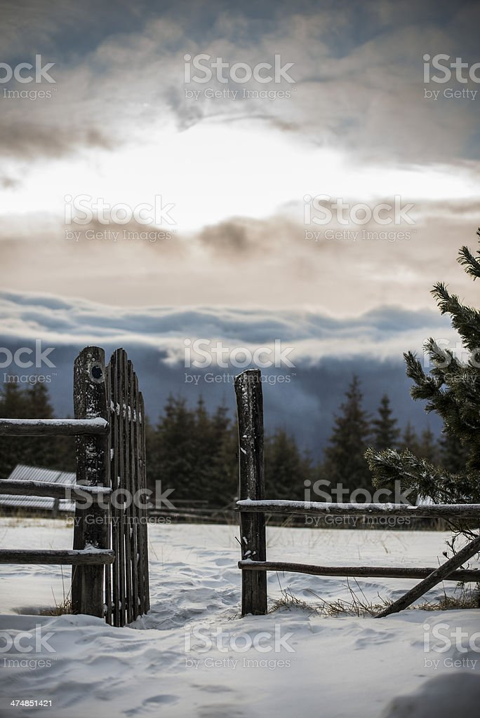 Gate to the sunny side stock photo