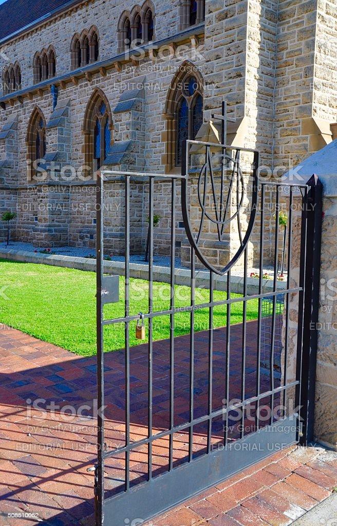 Gate with Cross: St. Patrick's Basilica, Fremantle,WA stock photo