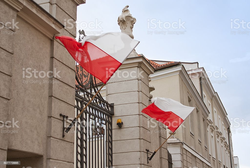 Gate with flags stock photo