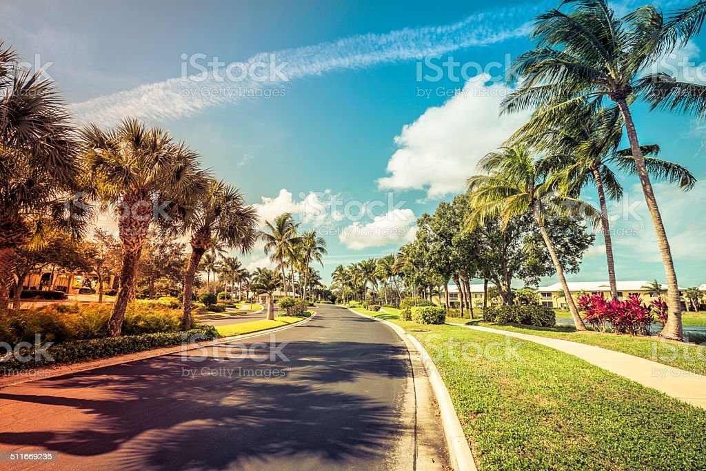 Gated community road and condominiums in Florida stock photo