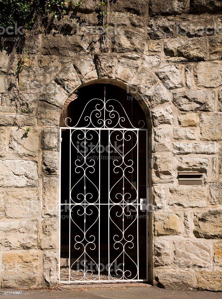 Gated doorway stock photo