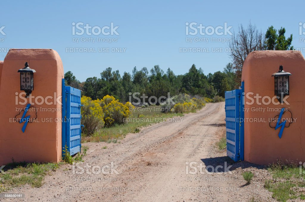 Gated Entrance to the Forked Lightning Ranch stock photo