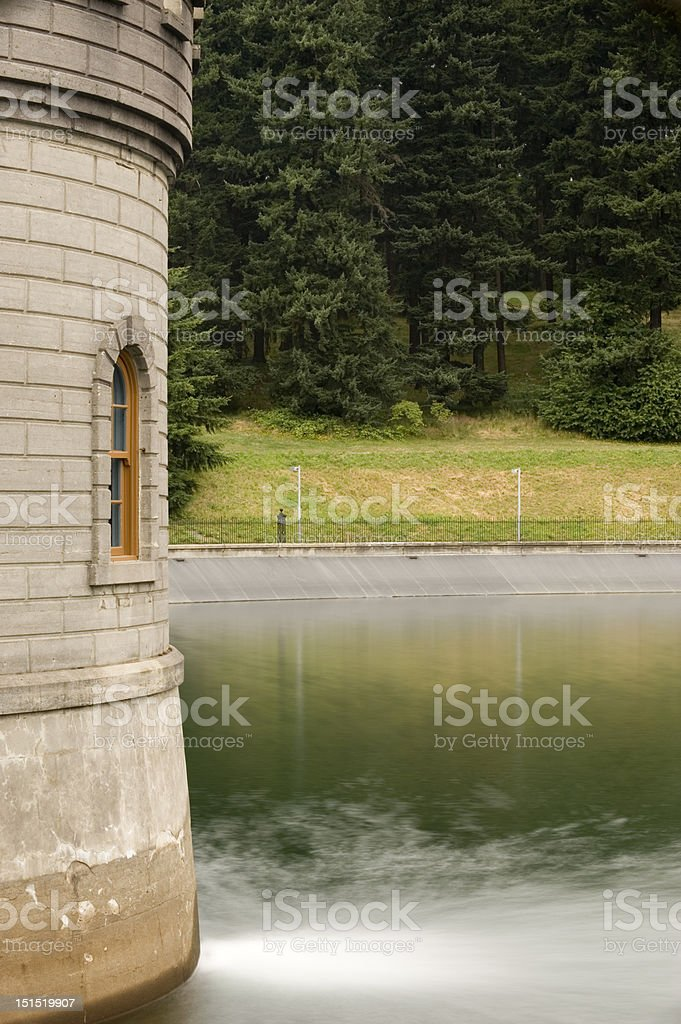 Gatehouse 5 and reflections, Mount Tabor Park stock photo