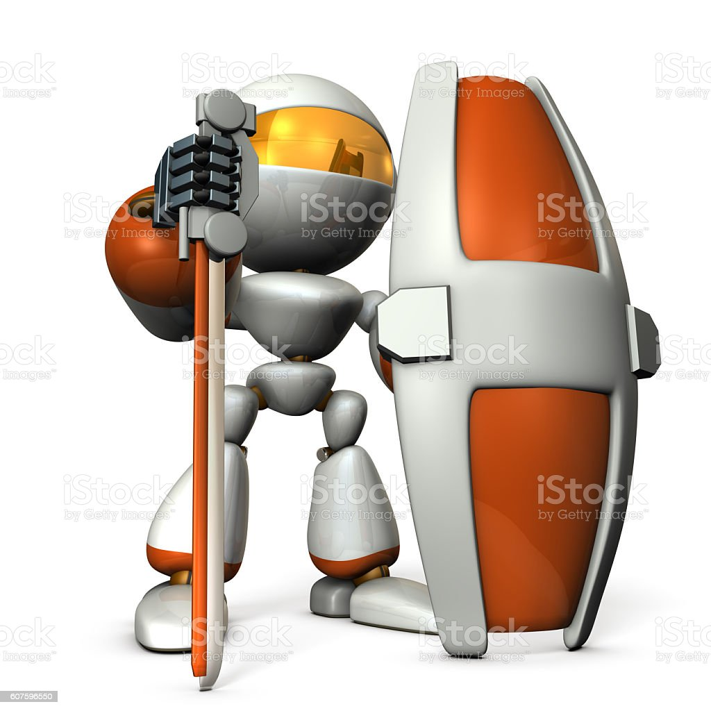 Gatekeeper robot with a large shield. stock photo