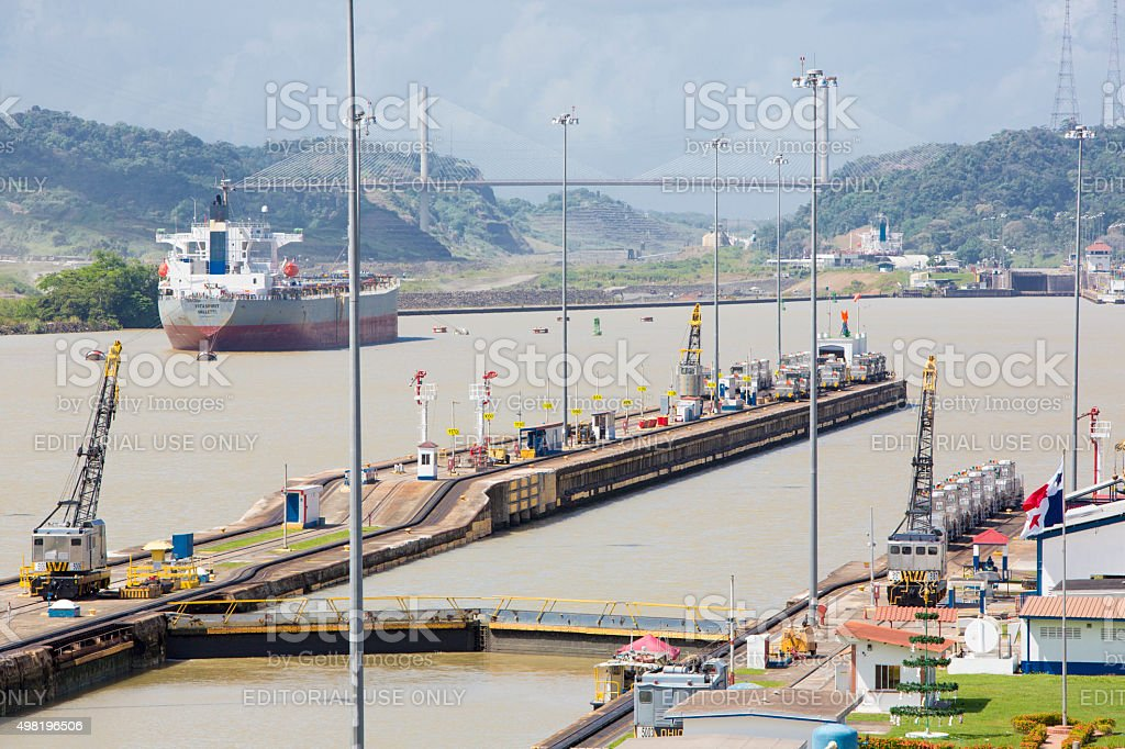 Gates and basin of Miraflores Locks Panama Canal stock photo