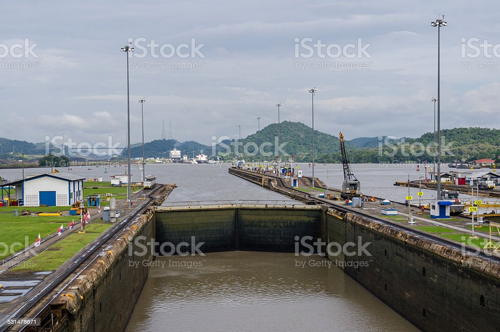 Gates and basin of Miraflores Locks stock photo