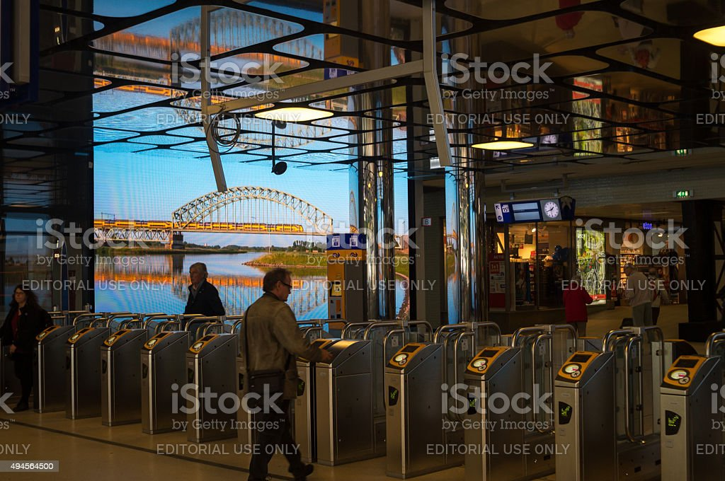 Gates and check-in in Amsterdam Railway Station stock photo