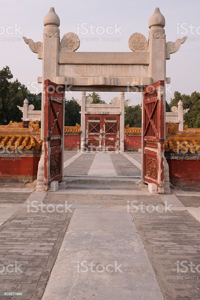 Gates (paifang) in the Temple of Earth (Ditan) in Beijing stock photo