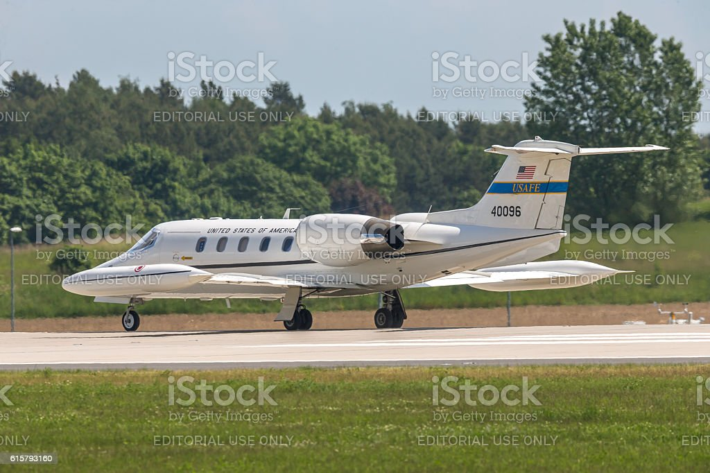 USAFE Gates Learjet 35 at ILA Berlin Air Show 2014 stock photo