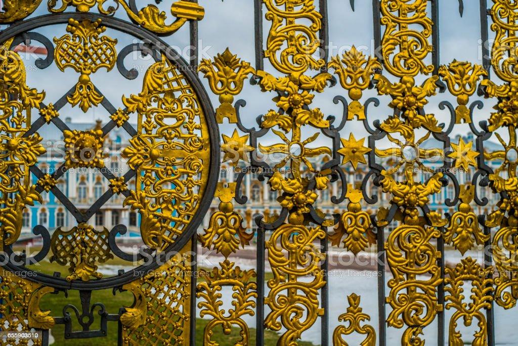 Gates of  Catherine palace in Tsarskoye Selo, Pushkin, Saint Petersburg stock photo