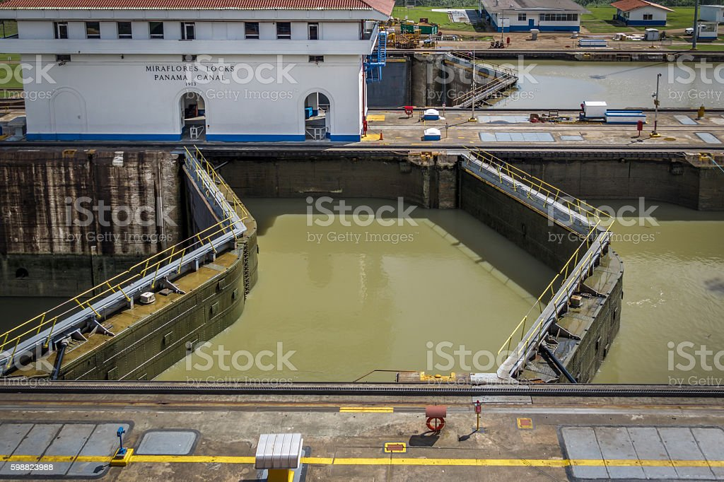 Gates of Miraflores lock - Panama Canal - Panama City stock photo