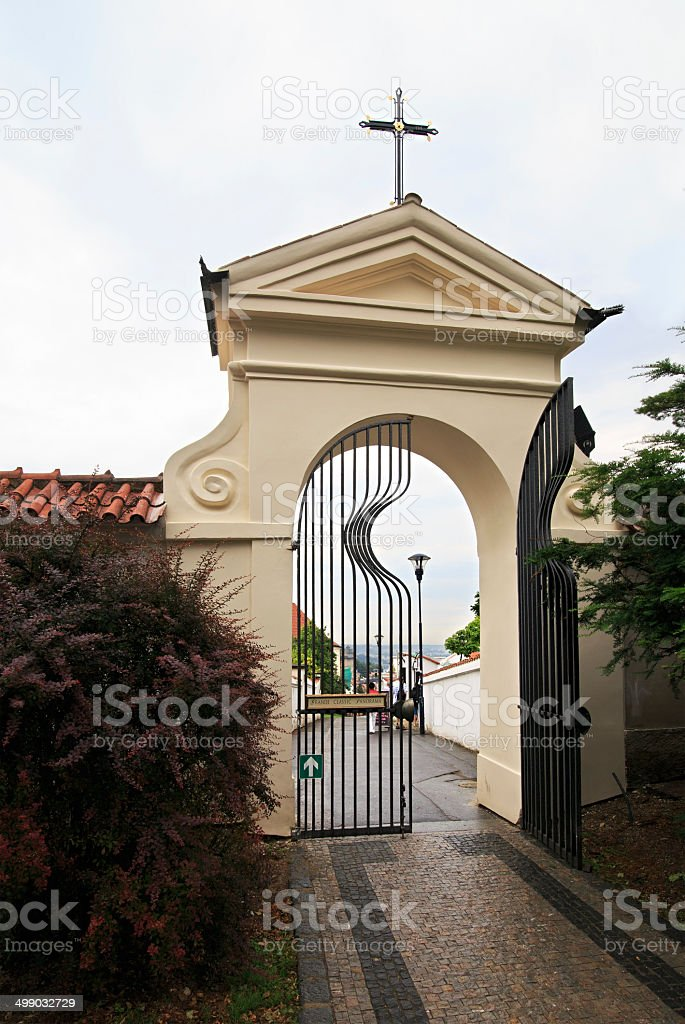 Gates of Strahov Monastery in Prague. stock photo