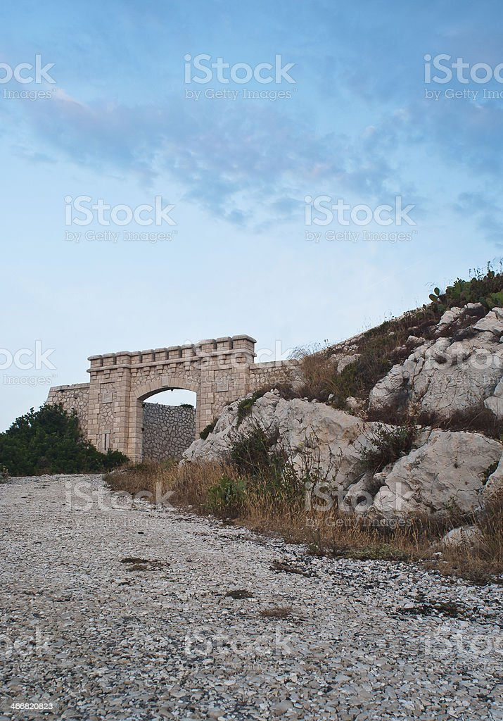 gates of the fortress at dawn royalty-free stock photo