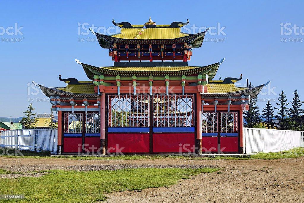 Gates of the Ivolginsky Datsan, Buryatia stock photo