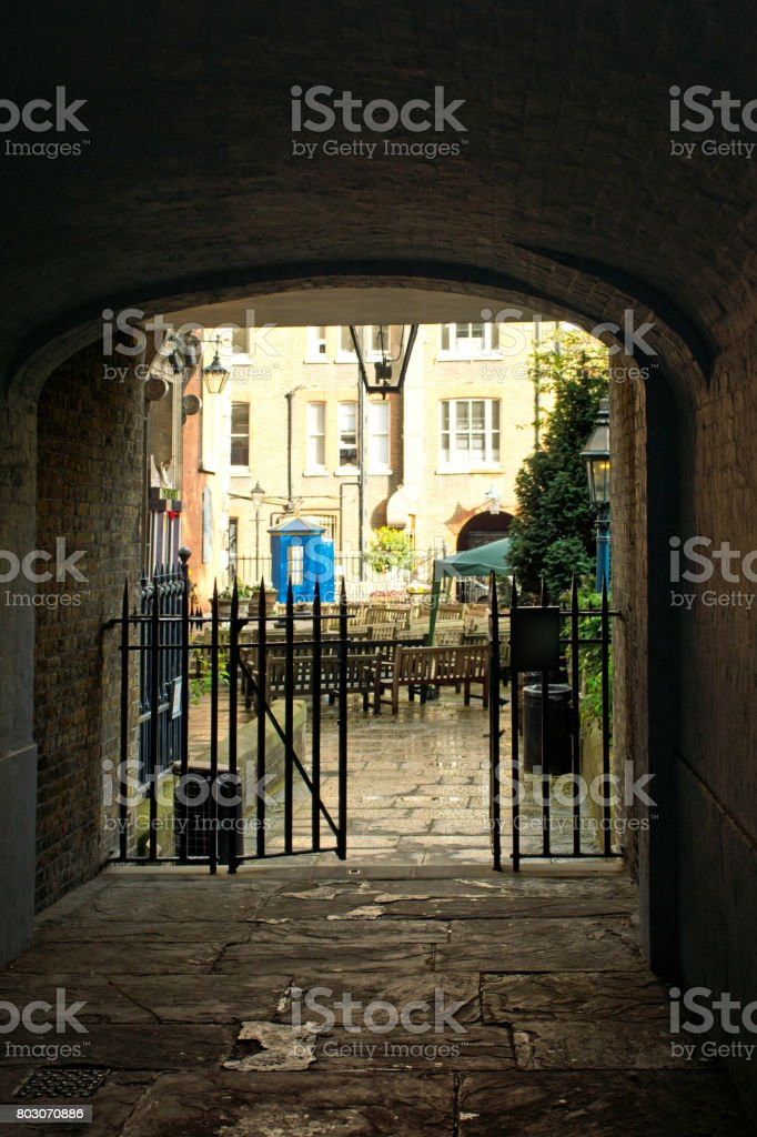 Gates to a park in London stock photo