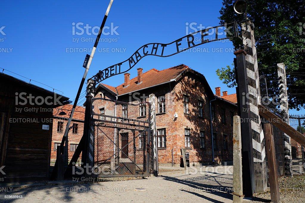 Gates to Auschwitz Birkenau Concentration Camp stock photo