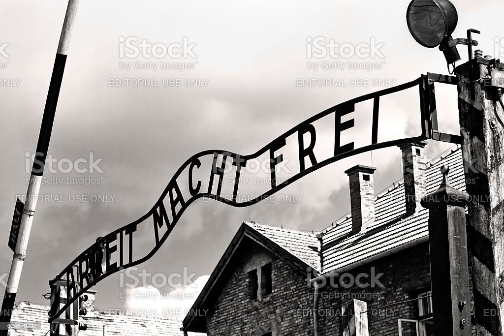 Gates to Auschwitz Birkenau Concentration Camp stock photo