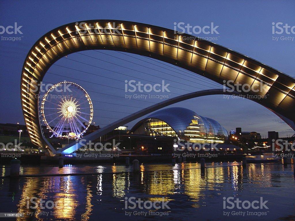 Gateshead Millenium Bridge in Newcastle stock photo