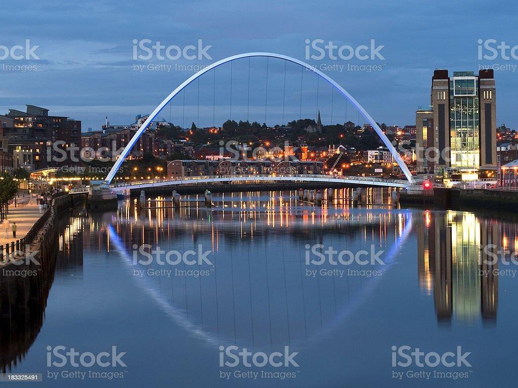 Gateshead Millennium Bridge at dusk stock photo