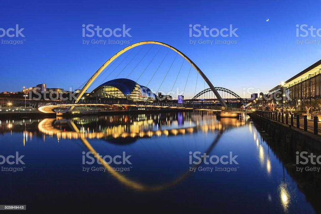 Gateshead Moonlit Evening stock photo