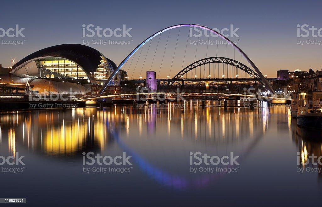 Gateshead Tyne and Millennium bridges at sundown stock photo