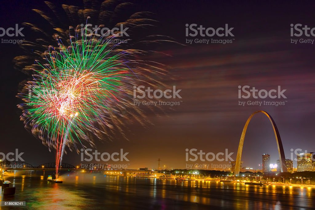 Gateway Arch and Fireworks 2 stock photo