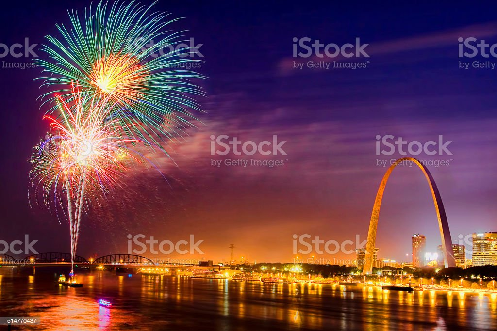 Gateway Arch and Fireworks stock photo
