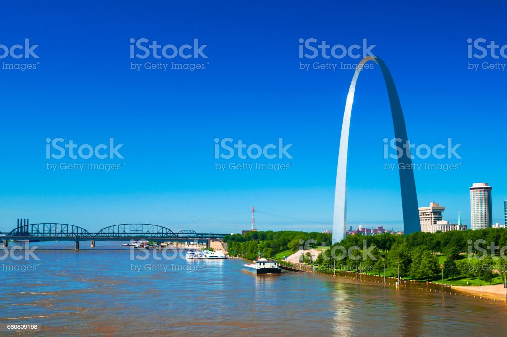 Gateway Arch and the Mississippi River stock photo